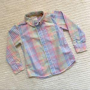 J. Crew boys rainbow plaid button down shirt